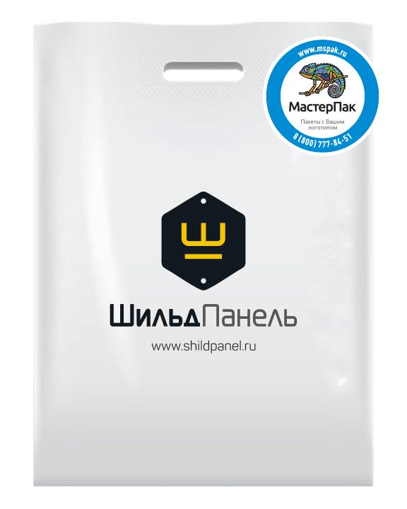 Белый пакет из ПВД в 70 мкм размером 36*45 см с логотипом магазина шильдов Шильд Панель