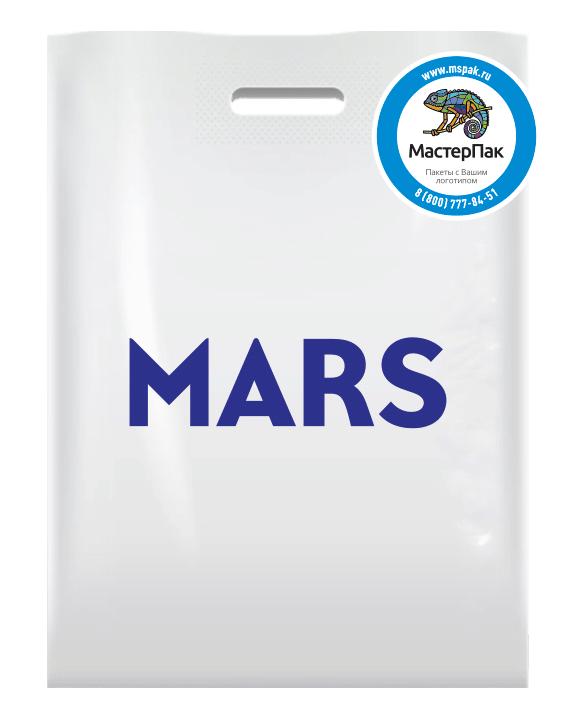 ПВД пакет повышенной плотности в 70 мкм, размер 30*40 см, шелкография, вырубная ручка, с логотипом для магазина модной одежды MARS