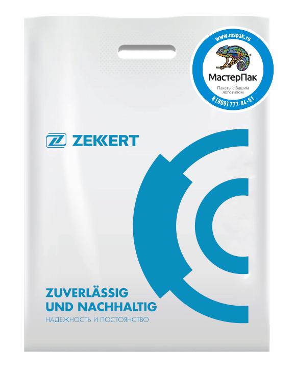 ПВД пакет повышенной плотности в 70 мкм, размер 30*40 см, шелкография, с логотипом в один цвет для поставщика автозапчастей Zekkert