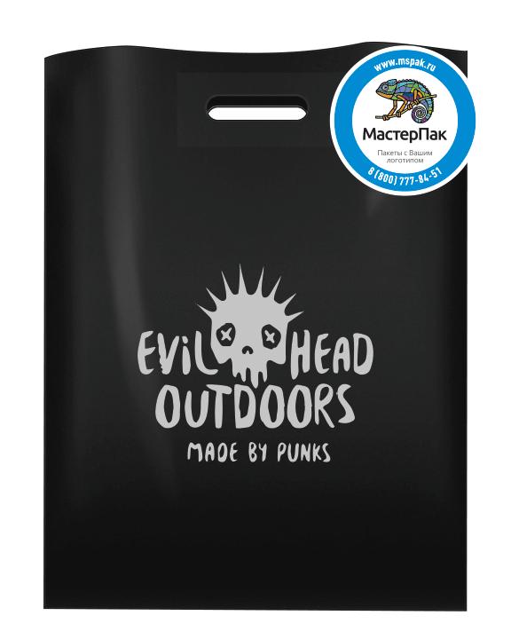 ПВД пакет повышенной плотности в 70 мкм, размер 30*40 см, с логотипом нанесенным трафаретным способом в 2 цвета для магазина одежды «Evil Head Outdoors»