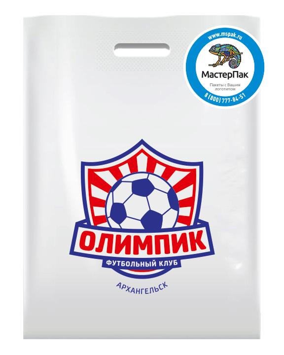 ПВД пакет повышенной плотности в 70 мкм, размер 30*40 см, с логотипом нанесенным трафаретным способом в 2 цвета для спортивной организации Олимпик