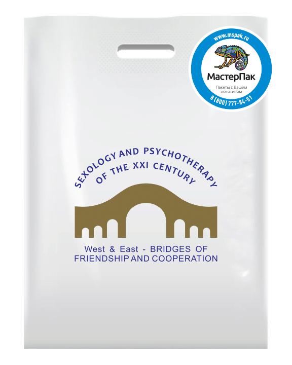 ПВД пакет повышенной плотности в 70 мкм с логотипом нанесенным трафаретным способом в 2 цвета для партнера West&East на мероприятие