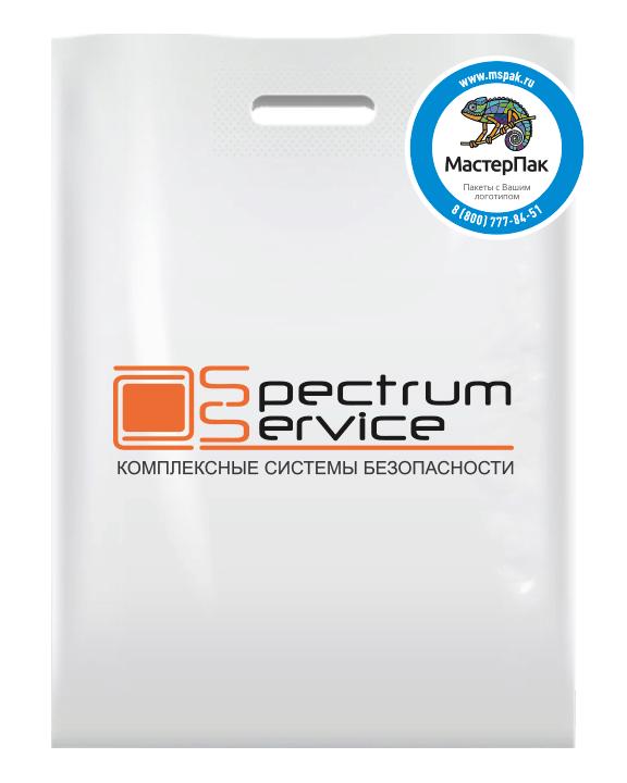 м, размер 30*40 см, вырубная ручка, с логотипом в два цвета производителя систем безопасности Spectrum Service
