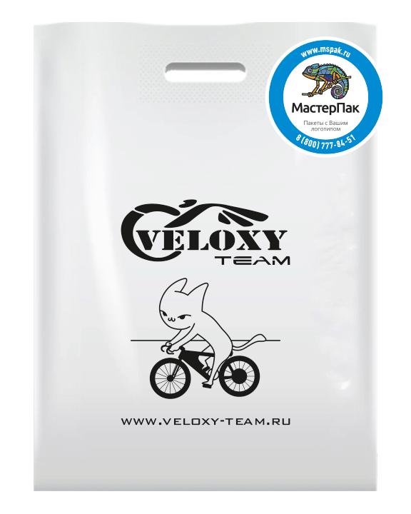 Пакет ПВД с вырубной усиленной ручкой и логотипом VELOXY TEAM