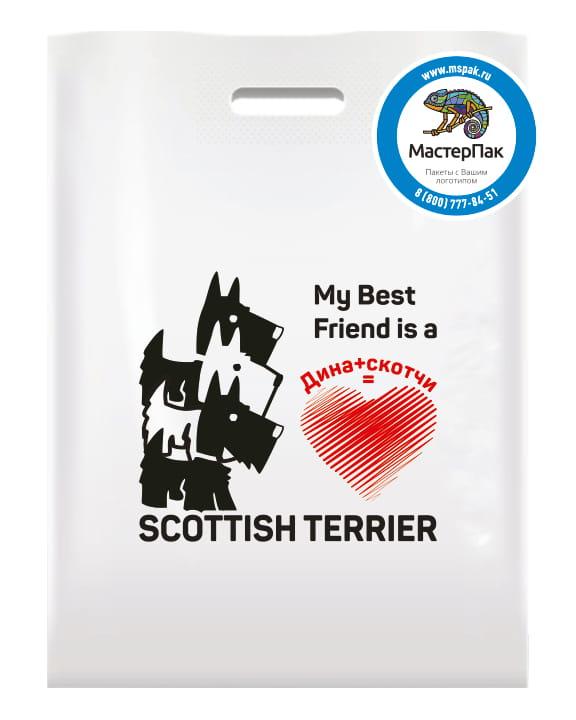 Пакет ПВД с вырубной ручкой и логотипом Scottish Terrier