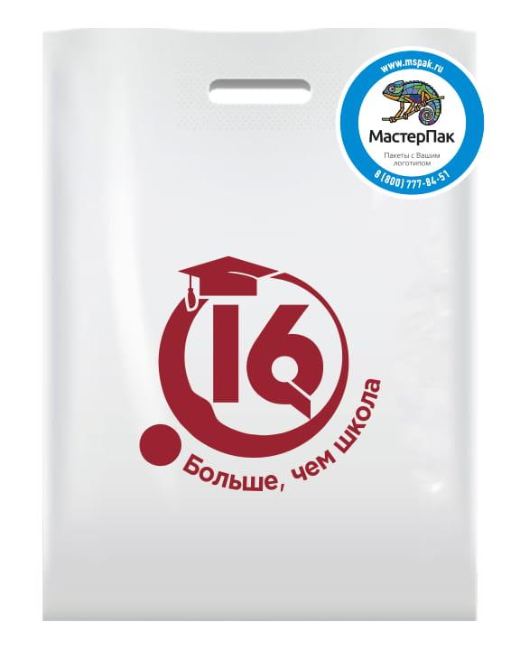 """Пакет ПВД с вырубной ручкой и логотипом 16 """"Больше, чем школа"""""""