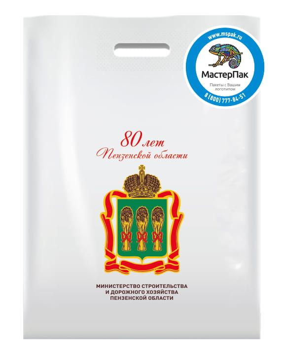 """Пакет ПВД с вырубной ручкой и логотипом """"80 лет Пензенской области"""", 70 мкм"""