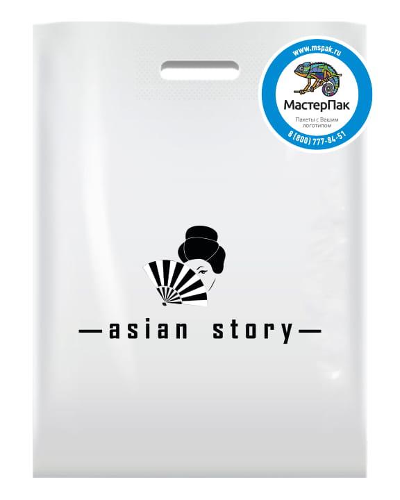 Пакет ПВД с вырубной ручкой и логотипом для магазина asian story