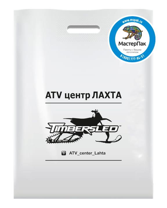 Пакет ПВД с вырубной ручкой и логотипом Timbersled