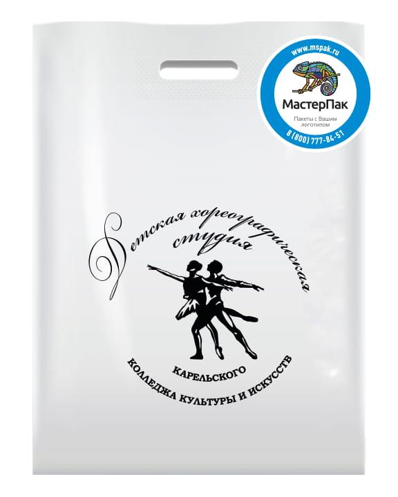 Пакет ПВД, 70 мкм, с вырубной ручкой и логотипом Детская хореографическая студия