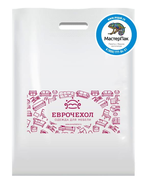 Пакет ПВД, 70 мкм, с вырубной ручкой и логотипом ЕВРОЧЕХОЛ, Карелия