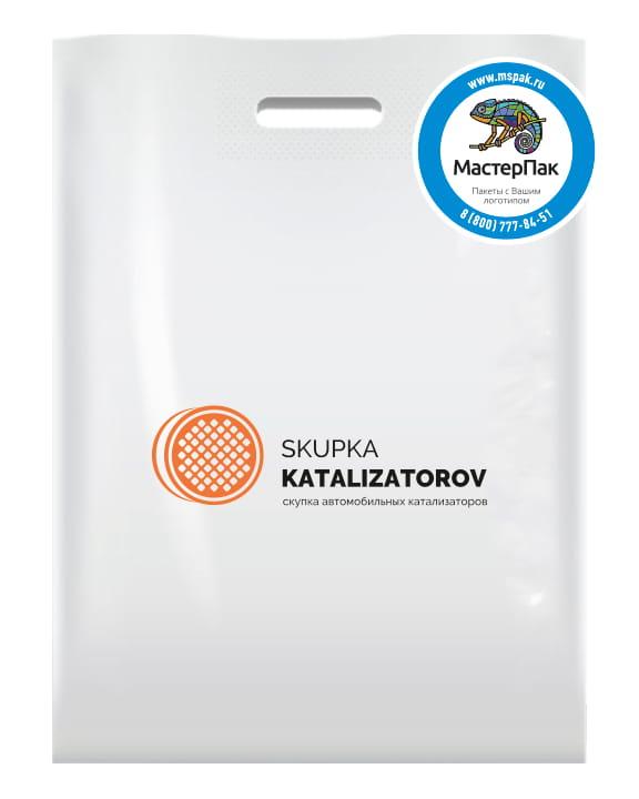 Пакет ПВД, 70 мкм, с вырубной ручкой и логотипом Skupka katalizatorov, Москва