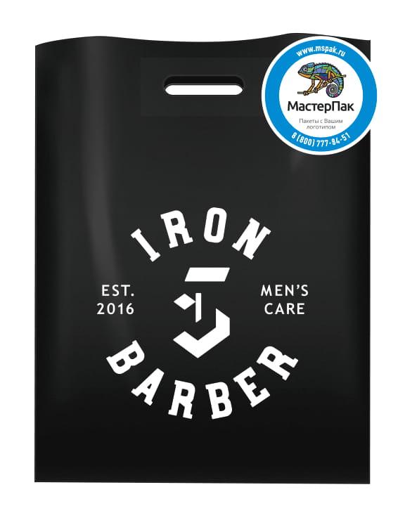 Пакет ПВД, 70 мкм, с вырубной ручкой и логотипом Iron Barber, Псков