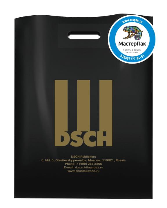 Пакет ПВД, 70 мкм, с вырубной ручкой и логотипом DSCH, Москва