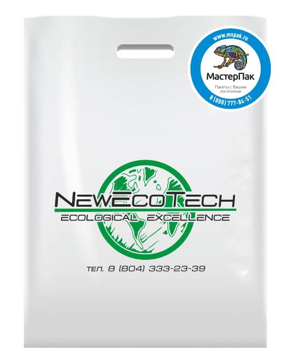 Пакет ПВД, 70 мкм, с вырубной ручкой и логотипом NewEcoTech, Спб