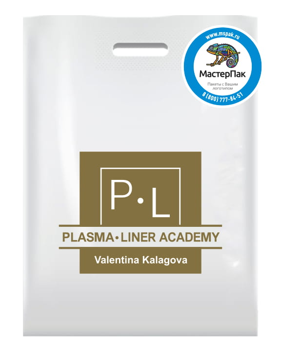 Пакет ПВД, 70 мкм, с вырубной ручкой и логотипом Plasma. Liner Academy