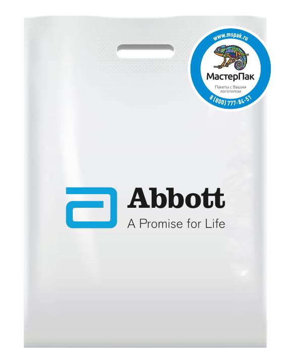 Пакет ПВД, 70 мкм, с вырубной ручкой и логотипом Abbot, Спб