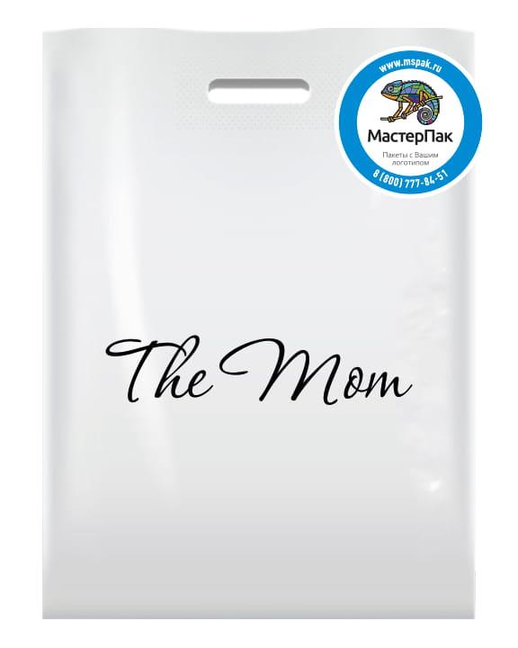 Пакет ПВД, 70 мкм, с вырубной ручкой и логотипом The mom, Москва