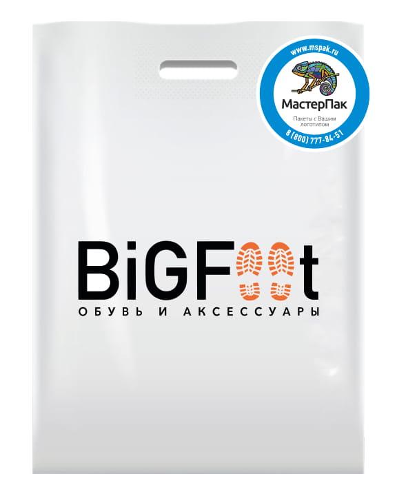 акет ПВД, 70 мкм, с вырубной ручкой и логотипом магазина BIGFOOT