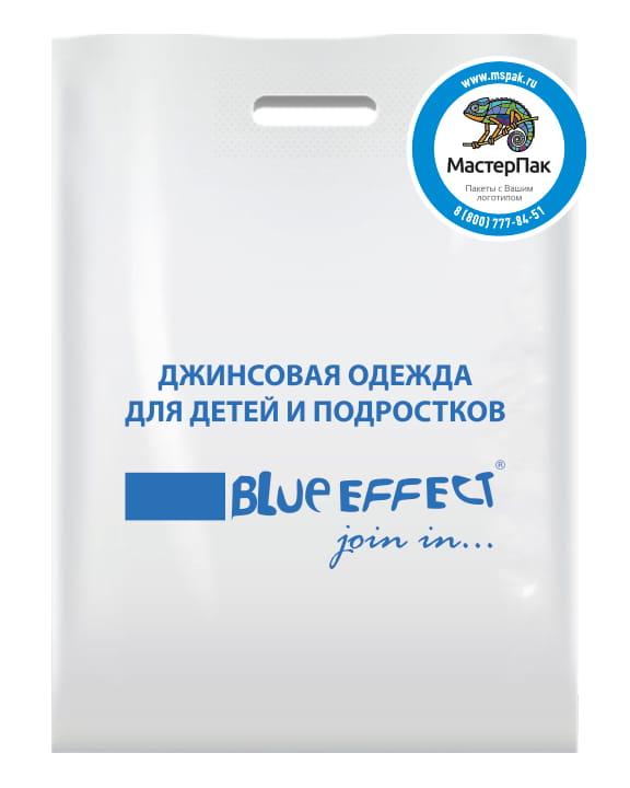 Пакет ПВД, 70 мкм, с вырубной ручкой и логотипом магазина Blue Effect, Москва