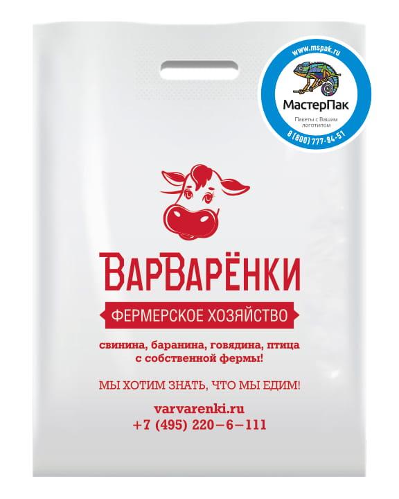 Пакет ПВД, 70 мкм, с вырубной ручкой и логотипом ВарВарёнки, Москва
