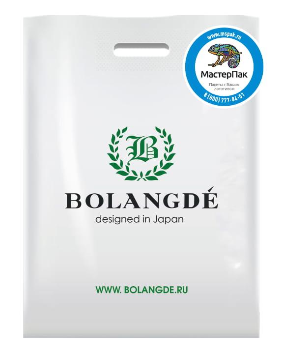 Пакет ПВД, 70 мкм, с вырубной ручкой и логотипом Bolangde
