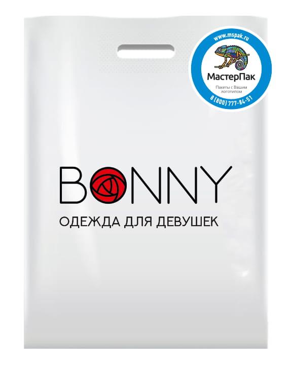 Пакет ПВД, 70 мкм, с вырубной ручкой и логотипом магазина BONNY