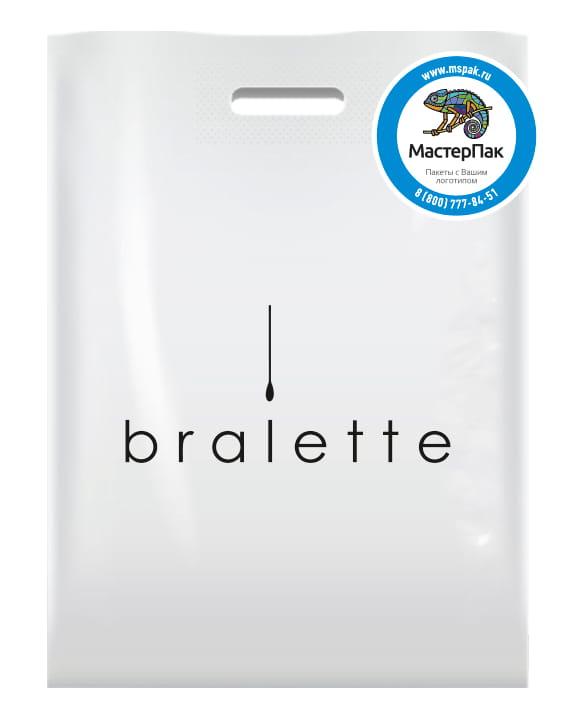 Пакет ПВД, 70 мкм, с вырубной ручкой и логотипом bralette