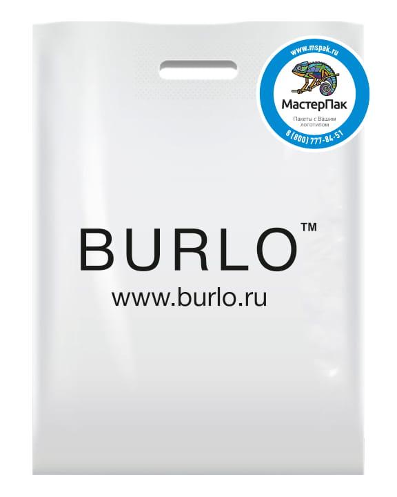 Пакет ПВД с вырубной ручкой и логотипом BURLO, 70 мкм, 60*50 см