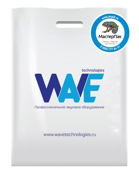 Пакет ПВД с вырубной ручкой и логотипом WAVE, Москва