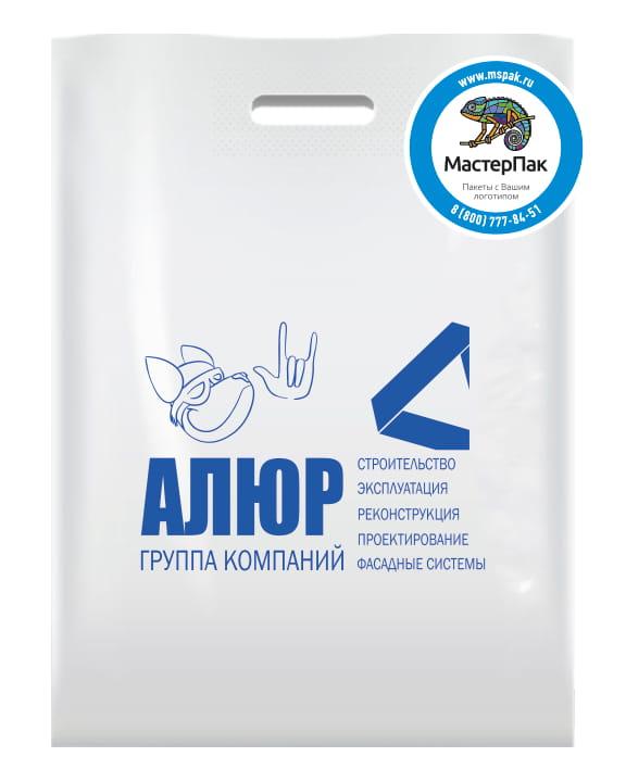 Пакет ПВД, 70 мкм, с вырубной ручкой и логотипом АЛЮР