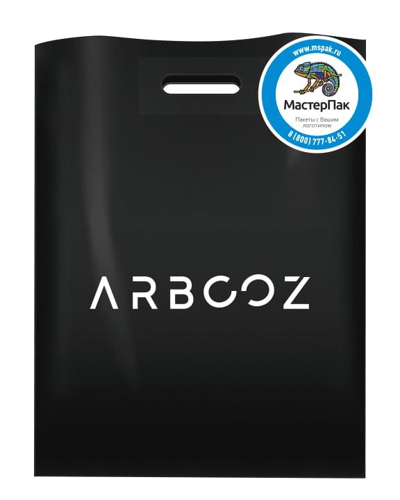 Пакет ПВД, 70 мкм, с вырубной ручкой и логотипом ARBCOZ