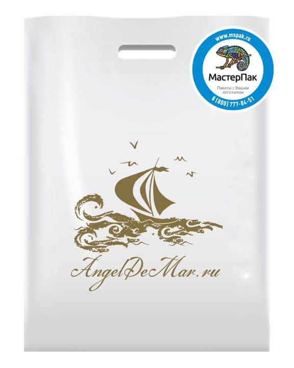 Пакет ПВД, 70 мкм, с вырубной ручкой и логотипом AngelDeMar.ru, Москва