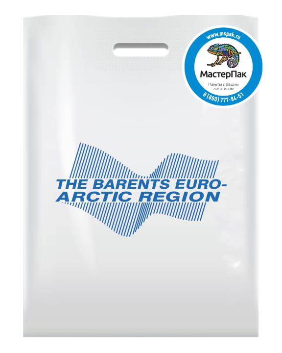 Пакет ПВД, 70 мкм, с вырубной ручкой и логотипом The Barents EURO-ARCTIC REGION