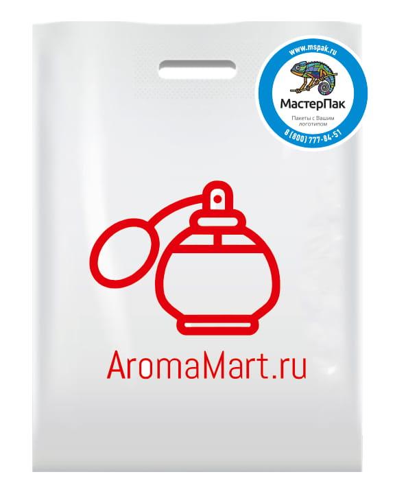 Пакет ПВД, 70 мкм, с вырубной ручкой и логотипом AromaMart.ru, Москва