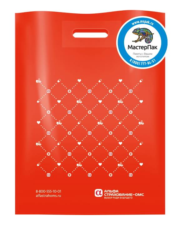 Пакет ПВД, 70 мкм, с вырубной ручкой и логотипом Альфа-страхование