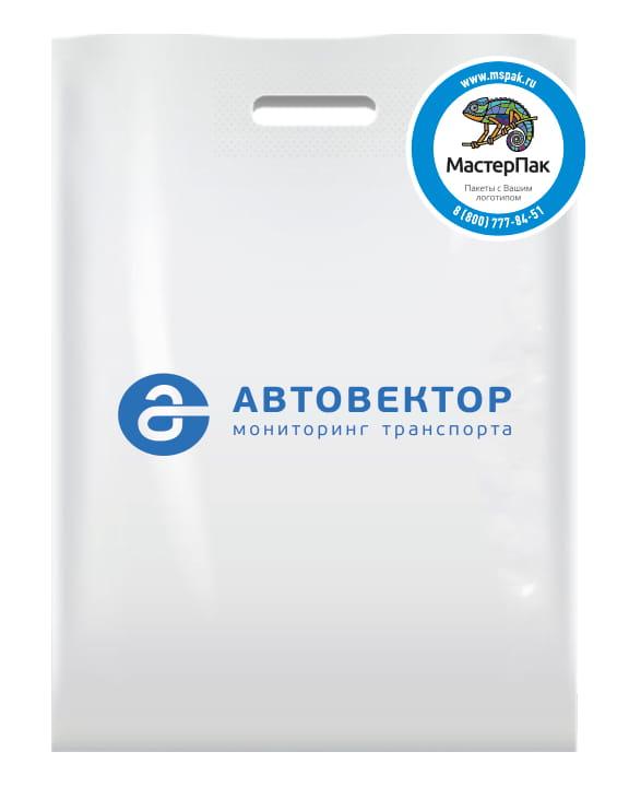 Пакет ПВД, 70 мкм, с вырубной ручкой и логотипом Автовектор, 30*40 см