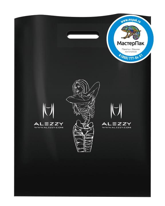 Пакет ПВД черный, 70 мкм, размер 30*40 см, вырубная ручка, шелкография, с логотипом магазина ALEZZY
