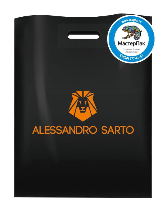 Пакет ПВД черный, 70 мкм, размер 36*45 см, вырубная ручка, шелкография, с логотипом ALESSANDRO SARTO