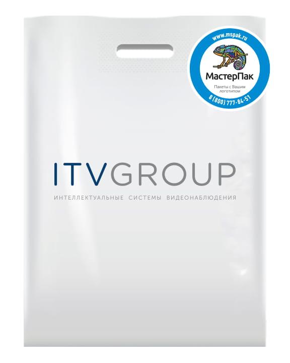 Пакет ПВД белый 70 мкм, размер 30*40 см, вырубная ручка, шелкография, с логотипом ITV GROUP
