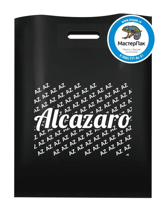 Пакет ПВД черный, 70 мкм, размер 30*40 см, вырубная ручка, шелкография, с логотипом магазина Alcazaro