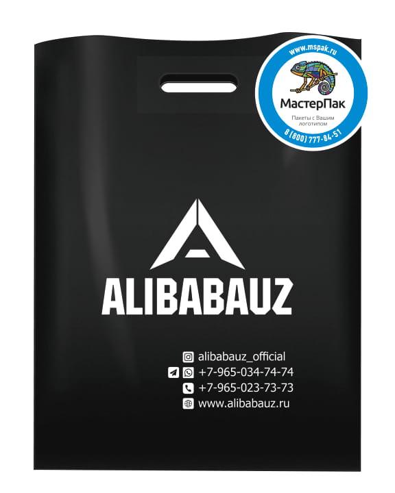 Пакет ПВД черный с вырубной ручкой и логотипом магазина одежды ALIBABAUZ
