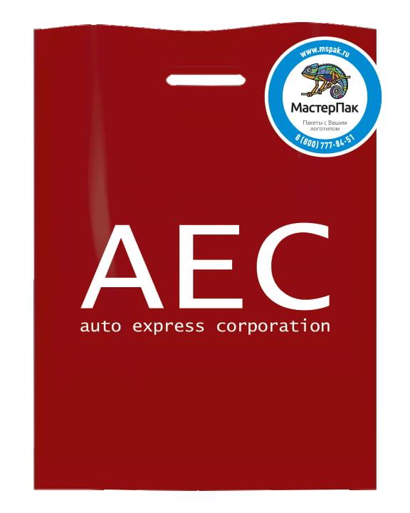 Пакет ПВД, 70 мкм, с вырубной ручкой и логотипом AEC