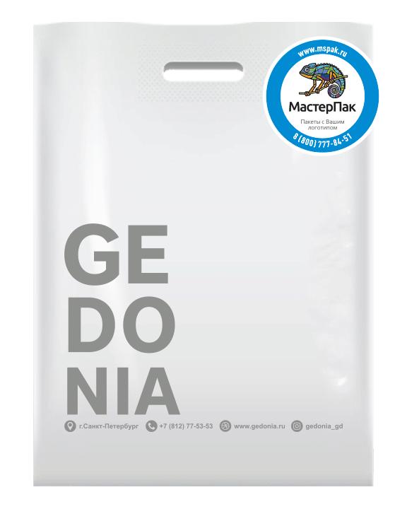 Пакет ПВД с вырубной ручкой и логотипом GEDONIA, 70 мкм