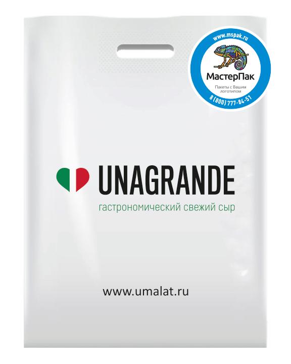 Пакет ПВД с вырубной ручкой и логотипом для UNAGRANDE