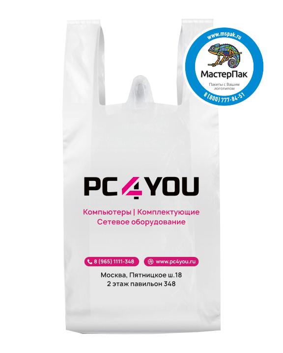 Пакет ПВД с вырубной ручкой и логотипом для магазина PC4YOU