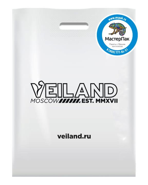 Пакет ПВД, 70 мкм, 70*50, с вырубной ручкой и логотипом Veiland, Москва