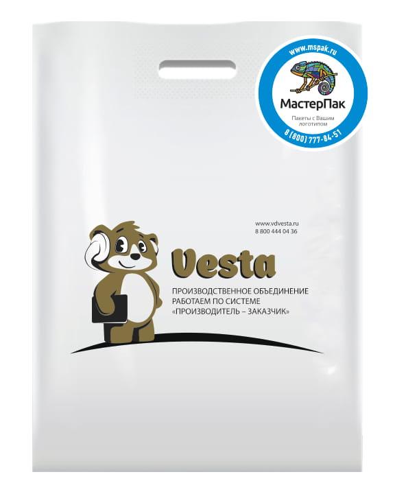 ПВД пакет, 70 мкм, 30*40, с вырубной ручкой и логотипом VESTA, Спб