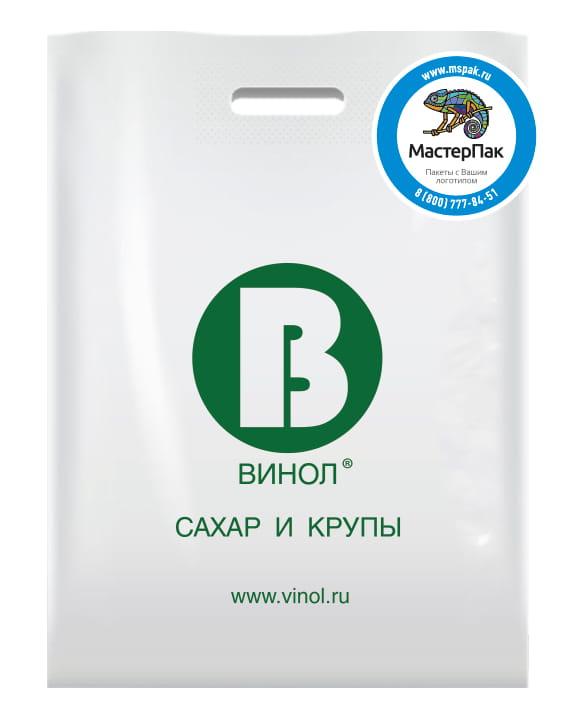 ПВД пакет, 70 мкм, с вырубной ручкой и логотипом ВИНОЛ