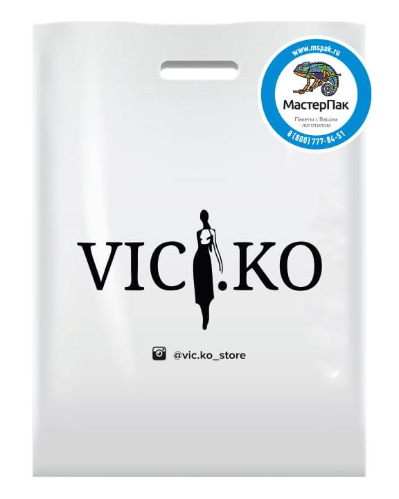 ПВД пакет, 70 мкм, с вырубной ручкой и логотипом VIC.KO